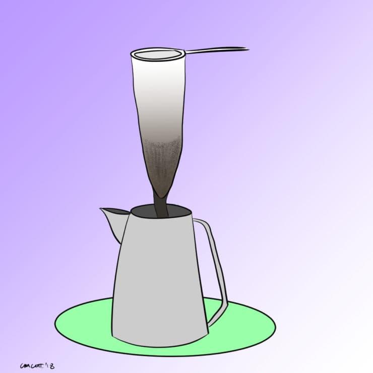 coffee bag in pot