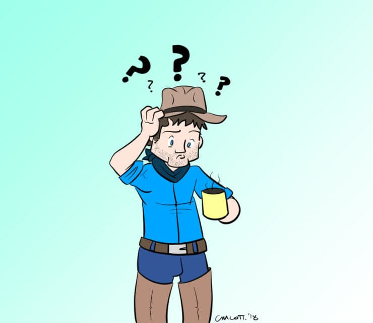 confused cow boy with coffee
